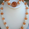 Pearl and glass necklace and bracelet set