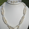Pearl and crystal loop necklace and bracelet set