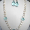 Aquamarine and Pearl necklace set