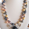 Large Multicolored Pearls with interchangable Blue Agate, Pearl or smoky topaz crystal centerpiece