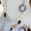 Mixed Chain with Grey Mother of Pearl Rings , Murano Glass , Black Onyx, and Cut Crystal