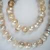 Large Baroque Pearls , Tones of Beige and Grey, Necklace and Bracelet Set