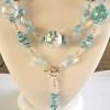 Convertible necklace of Agate, Blue Topaz,  detachable pendant