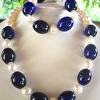 Necklace and Bracelet set, large Pearls and vintage cobalt glass beads