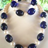 Necklace and Bracelet set, large Pearls and vintage cobalt glass beads