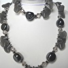 Necklace and Bracelet set, grey Agate, crystals, large ceramic beads