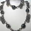 Necklace and Bracelet set, grey Agate, crystals, large ceramic beads