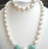 Necklace and bracelet set, large Pearls and Turquoise beads
