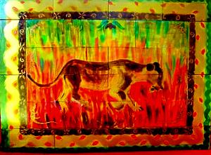 "Lioness by Gemma Insinna ceramic tile ~ 31"" x 41"""