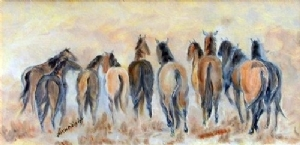 Tails To The Wind by Billie Wright Oil ~ 12 x 24