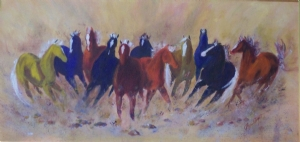Brumbies by Billie Wright Oil ~ 15 x 30
