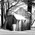 "2/12/2010 Snowy Shed in Black and White by Alan Wood Photograph ~ 10"" x 8"""