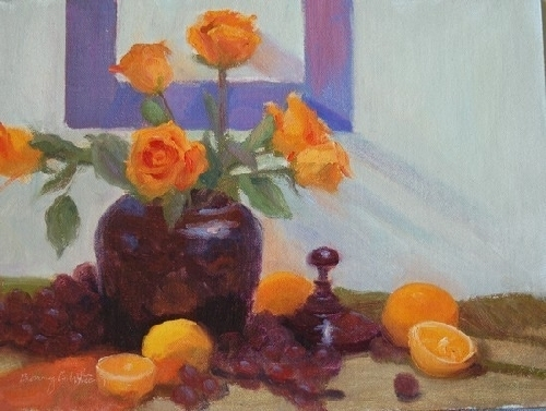 Orange Roses by Bonny C. White Oil ~ 9 x 12