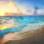 Micah Goguen - Watercolor Landscape: Beach Sunset
