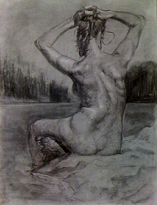 Rusalka by Kyle V Thomas Charcoal ~ 24 x 18