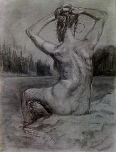 Rusalka by Kyle V Thomas Charcoal ~ 24 x 18