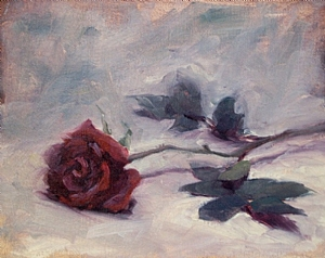 The Red Rose (Framed) by Kyle V Thomas Oil ~ 8 x 10