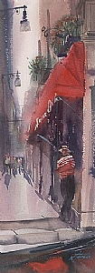 Gondolier, Venice V by Keiko Tanabe Watercolor ~ 18 3/8 x 6 1/2 inches (47 x 17 cm)