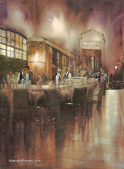 Caf� Grand Central, New York City I - Watercolor