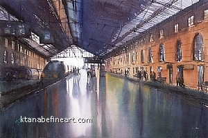 Marseille St-Charles, France by Keiko Tanabe Watercolor ~ 14 x 21 inches (36 x 53 cm)