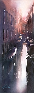 Venice Reflections V by Keiko Tanabe Watercolor ~ 18 x 6 1/2 inches (46 x 17 cm)