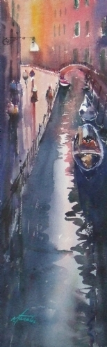 Venice Reflections III by Keiko Tanabe Watercolor ~ 21 x 6 1/2 inches (53 x 17 cm)