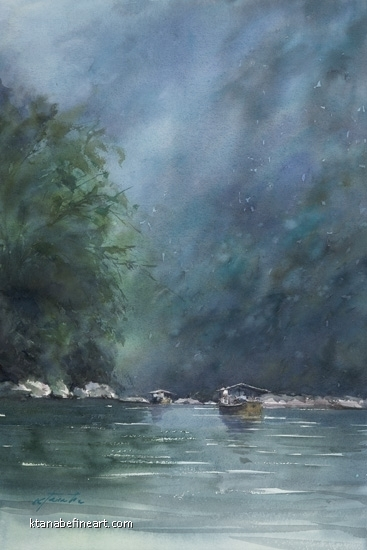 River Cruise, Kyoto, Japan V by Keiko Tanabe Watercolor ~ 21 x 14 inches (53 x 36 cm)