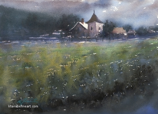 Saint-Emilion, France IV by Keiko Tanabe Watercolor ~ 8 1/4 x 11 1/2 inches (21 x 29 cm)