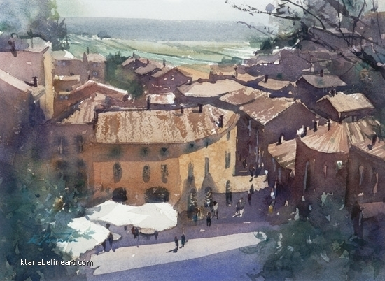 Saint-Emilion, France I by Keiko Tanabe Watercolor ~ 8 1/4 x 11 1/2 inches (21 x 29 cm)