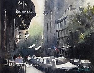Paris Caf� XXIII (Montmartre) by Keiko Tanabe Watercolor ~ 7 1/2 x 9 1/2 (19 x 24 cm)