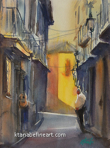 Granada Guitar by Keiko Tanabe Watercolor ~ 12 x 9 inches (30 x 23 cm)