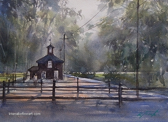 San Diego 100 (#64) - Olivenhain by Keiko Tanabe Watercolor ~ 8 1/4 x 11 1/2 inches (21 x 29 cm)