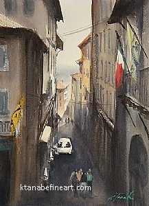 Cortona, Italy IV by Keiko Tanabe Watercolor ~ 11 1/2 x 8 1/4 inches (29 x 21 cm)