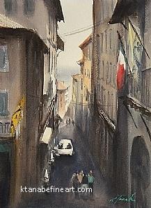 Cortona, Italy IV by Keiko Tanabe Watercolor ~ 11 1/2 x 8 1/4 inches (29 x 21 cm)