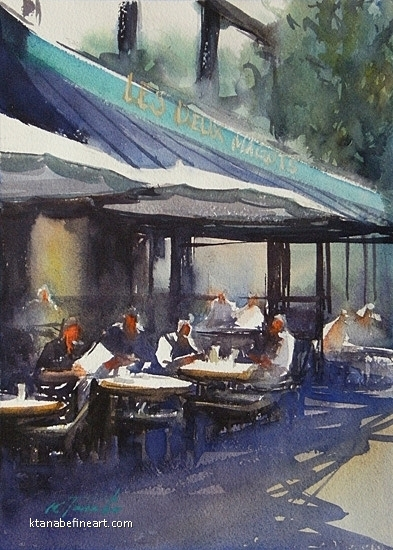 Paris Caf� XLII by Keiko Tanabe Watercolor ~ 11 1/2 x 8 1/4 inches (29 x 21 cm)