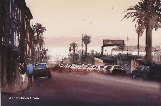 Little Italy Sunset VI by Keiko Tanabe Watercolor ~ 14 1/2 x 22 inches (37 x 56 cm)