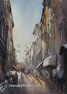 Roma, Italia XX by Keiko Tanabe Watercolor ~ 11 1/2 x 8 1/4 inches (29 x 21 cm)