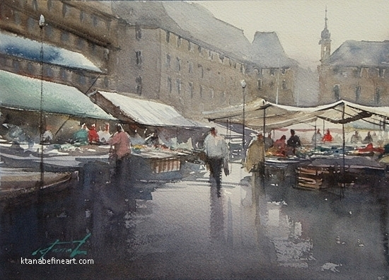 Market Day, Basel, Switzerland by Keiko Tanabe Watercolor ~ 8 1/4 x 11 1/2 inches (21 x 29 cm)