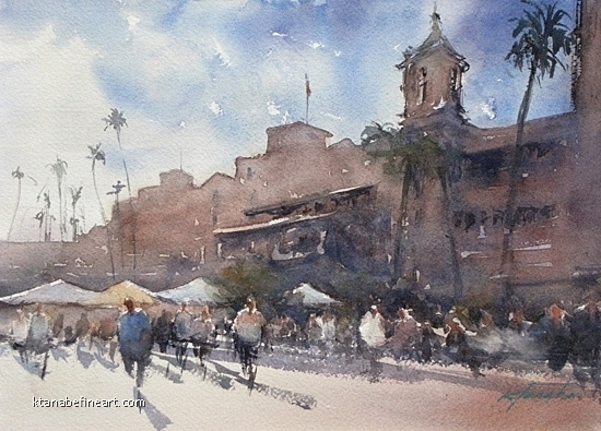San Diego 100 (#75) - Del Mar Racetrack by Keiko Tanabe Watercolor ~ 8 1/4 x 11 1/2 inches (21 x 29 cm)