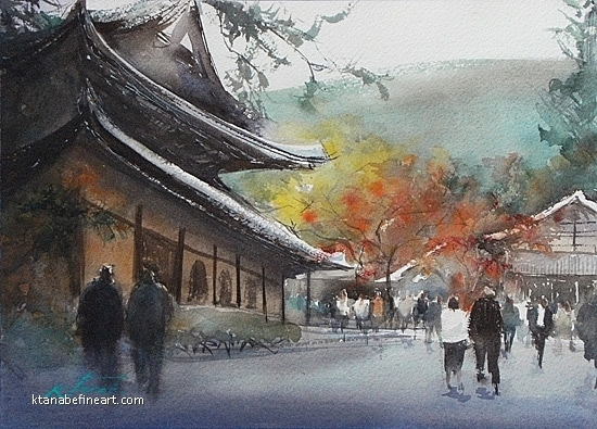 Autumn Leaves, Kyoto, Japan II by Keiko Tanabe Watercolor ~ 8 1/4 x 11 1/2 inches (21 x 29 cm)