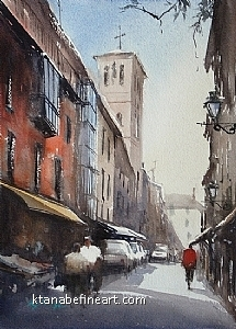 Toledo, Spain V by Keiko Tanabe Watercolor ~ 11 1/2 x 8 1/4 inches (29 x 21 cm)