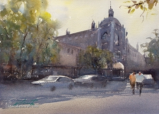 Riverside Mission Inn I by Keiko Tanabe Watercolor ~ 8 1/4 x 11 1/2 inches (21 x 29 cm)