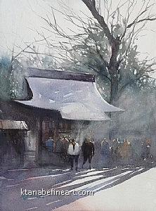 Kitano Shrine, Kyoto, Japan II by Keiko Tanabe Watercolor ~ 11 1/2 x 8 1/4 inches (29 x 21 cm)