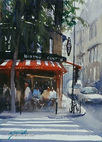 Paris (#1) - Bistro by Keiko Tanabe Watercolor ~ 11 1/2 x 8 1/4 inches (29 x 21 cm)