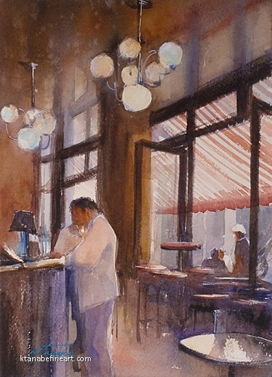 Paris (#9) - Bar by Keiko Tanabe Watercolor ~ 11 1/2 x 8 1/4 inches (29 x 21 cm)
