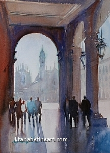 Torino, Italy III by Keiko Tanabe Watercolor ~ 11 1/2 x 8 1/4 inches (29 x 21 cm)
