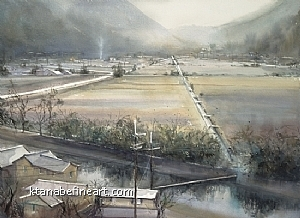 Winter Morning, Hyogo, Japan II by Keiko Tanabe Watercolor ~ 21 1/2 x 29 1/4 inches (55 x 74 cm)
