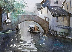 Zhouzhuang, China IV by Keiko Tanabe Watercolor ~ 8 1/4 x 11 1/2 inches (21 x 29 cm)