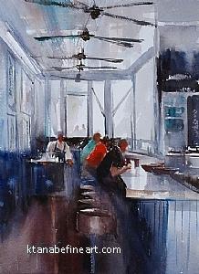 Clam Bar, Santa Barbara, California by Keiko Tanabe Watercolor ~ 11 1/2 x 8 1/4 inches (29 x 21 cm)