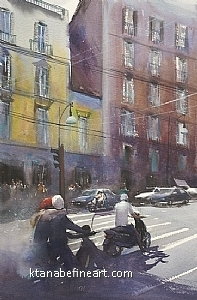 Napoli, Italy IX by Keiko Tanabe Watercolor ~ 21.5 x 14.25 inches (54.5 x 36 cm)